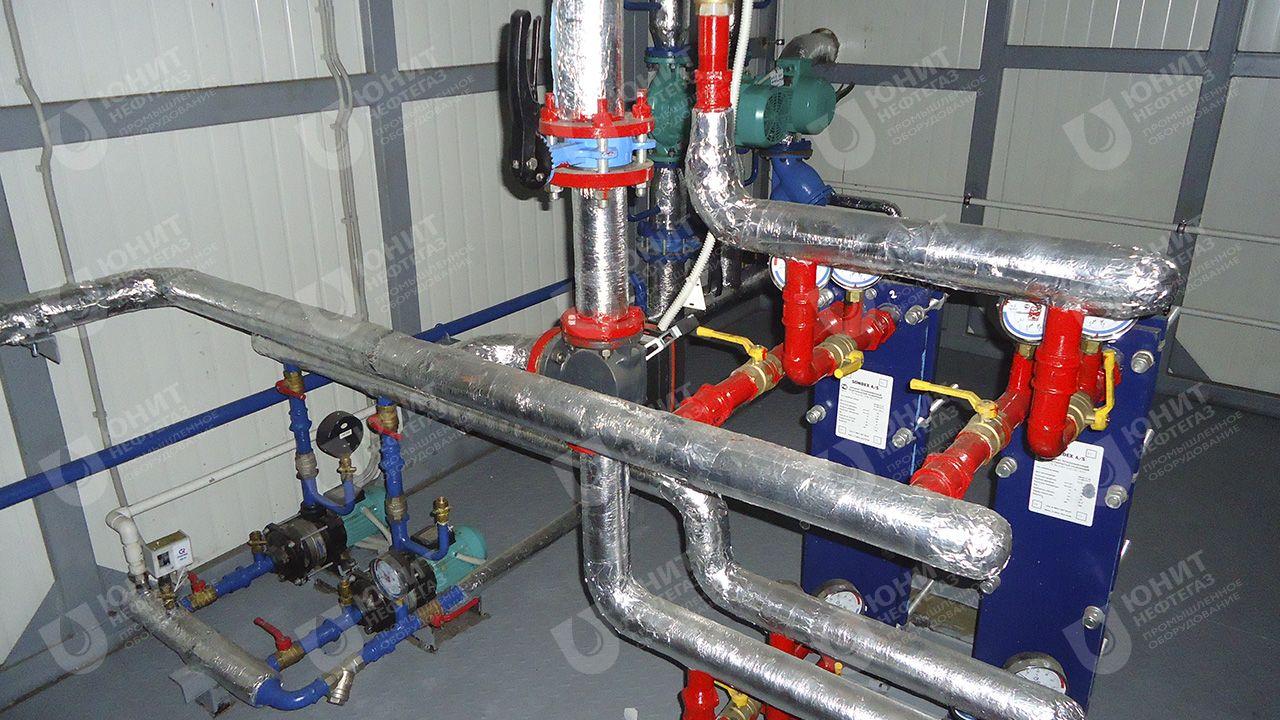 Насосная группа и теплообменники контура ГВС модульной котельной установки ТКУ-420 кВт