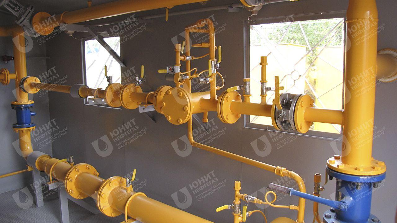 Газорегуляторный пункт блочный, на время транспортировки установлена технологическая катушка, измерительный комплекс устанавливается после монтажа и продувки подводящих газопроводов